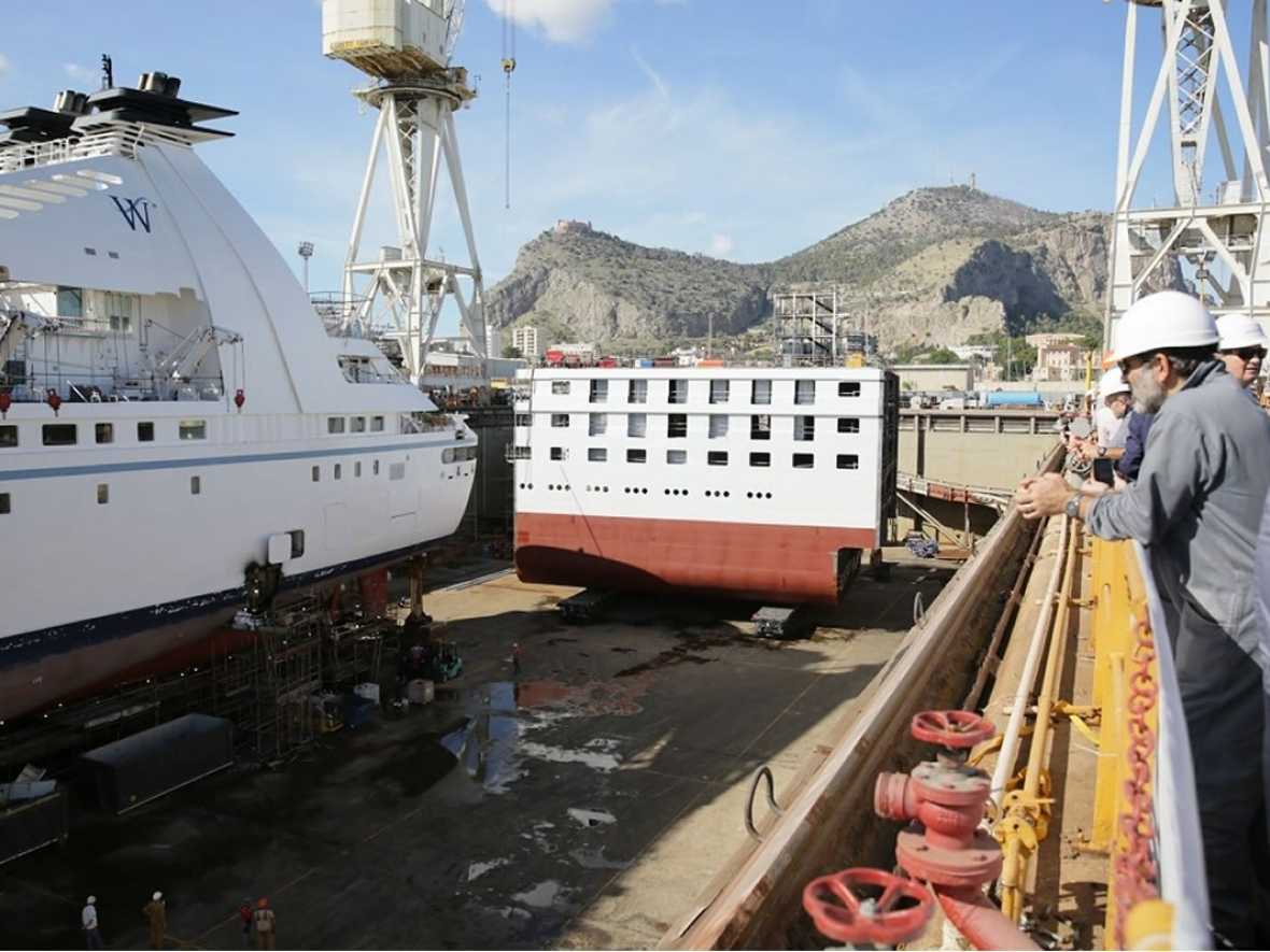 First Windstar cruise ship starts re-engine and stretching work at Fincantieri