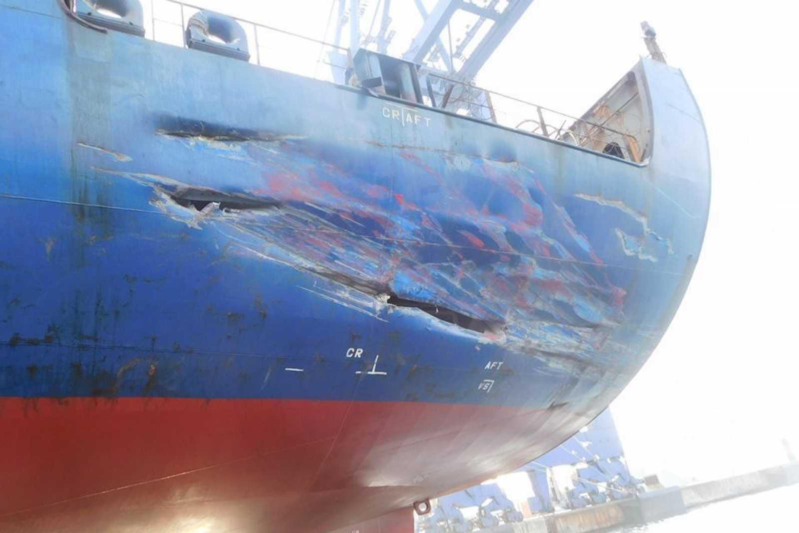 ANL Wyong port quarter damage MAIB pic